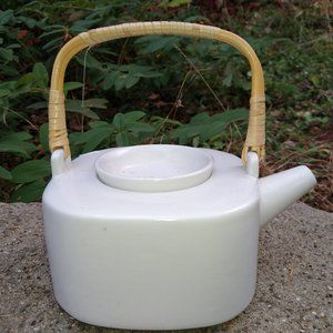 Vintage White Tea Pot With Bamboo Handle